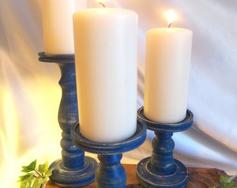 Two Sets  of 3 Primitive Dark Blue (Distressed) Lathe-turned Pillar Candle Holder - Made in USA