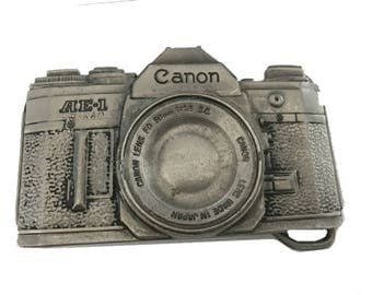 Vintage Classic Canon Camera Belt Buckle - Canon - Photographer - Photography - Nature - Artist - AE 1 - Zoom Lens Still Life Black White