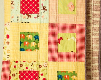 Handmade baby quilt for girls or boys, perfect newborn baby gift, ooak gift