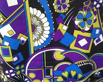 vintage fabric, mod 60s, op art print, Pucci - esque, double knit, polyester, psychedelic, floral, geometric