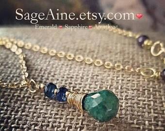 SageAine:Emerald Briolette, Sapphires, Amethysts Gold Necklace, Prosperity, Archangel Ophaniel, Heart, Third Eye Chakras , Reiki Charged