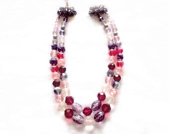 Vintage Sg'd Austrian Crystal Double Strand Necklace - Variety of Facetted Stones and Colours