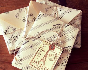 10 Vintage Upcycled Music Sheets, Upcycled, recycled, music envelopes