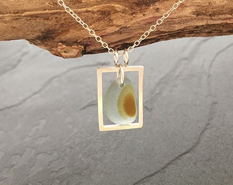 End of Day Sea Glass Rectangle Pendant
