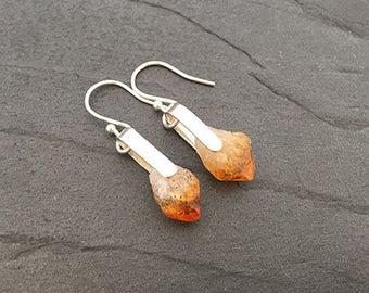 Raw Citrine Crystal Earrings