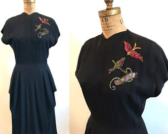 Vintage 1940s Black Rayon Crepe Peplum Dress w Sequined Birds