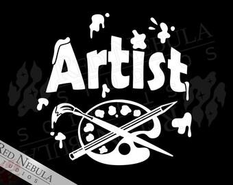 Vinyl Artist Decal, Paint Splatter, I'm An Artist Sticker, Gifts for Artists, Paint Palette, Laptop Decal, Car Window Decal, Art Car Decal