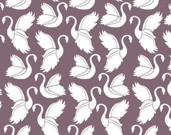Baby Bedding Crib Bedding - Plum Purple Swan - Baby Blanket, Crib Sheet, Crib Skirt, Changing Pad Cover, Boppy Cover