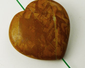 Wood Jasper Heart Pendant Bead - 35x35x8mm