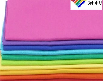 "10 Bright Fat Quarter Bundle, FQ, 10 colours, 18"" x 22"""