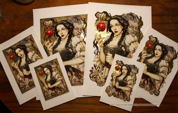 Gilded prints of Snow White fairy tale, choose size and border