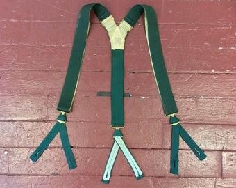 Vintage 1920s 1930s Paris Green Grosgrain Suspenders. Marked Ex. Lg.