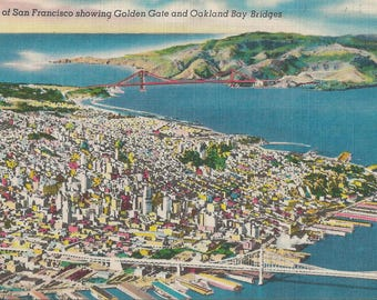 1950 Vintage Linen Postcard Providing an Aerial View of San Francisco And Both the Golden Gate and Oakland Bay Bridges From High Above