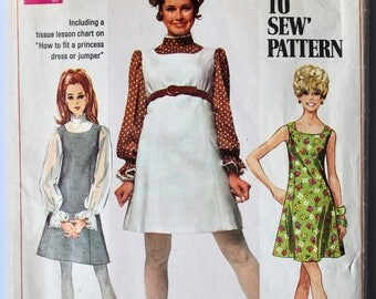 Vintage 1960s Women's Sleeveless A-Line Shift Dress and Belle-Sleeve Blouse Sewing Pattern Size 14 Bust 36 Simplicity 8008