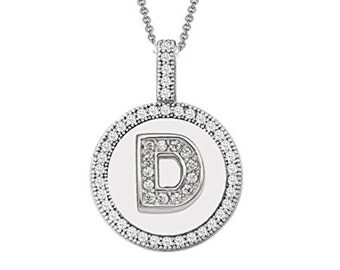Letter D Micro Pave CZ Pendant .925 Sterling Silver