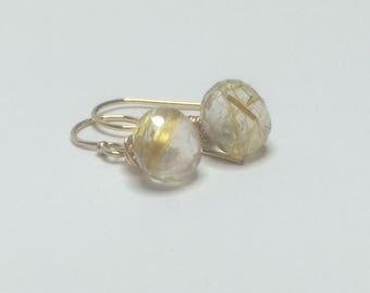 Gold rutilated quartz, dangle earrings, gold rutilated quartz, 14k gold fill earrings