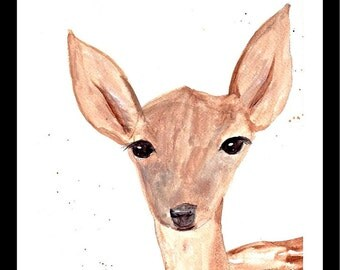 Fawn art Watercolour painting Fawn painting Nursery art Wall art Fawn illustration Woodland animal 9 x 12 inches one of a kind