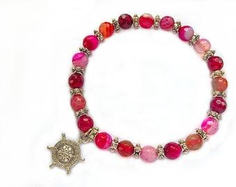 Pink Agate bracelet, gemstone bracelet