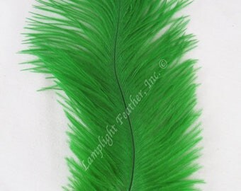 Ostrich Feathers, MINI, Green, 5-8 inch, Per 12 Select