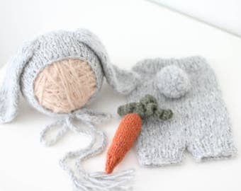 Newborn rabbit – Baby props – Newborn set – Photo props – Baby boy rabbit – Newborn hat – Newborn props – Baby boy props - Easter hat - Gray