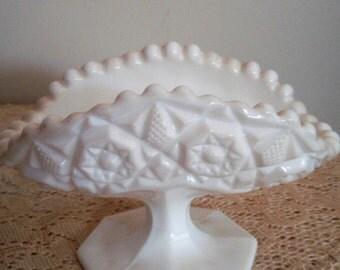 Milk Glass Pedestal dish, White Milk Glass Banana Boat, White serving dish,Napkin holder, mail holder