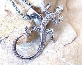 Sterling silver lizard necklace, sterling lizard pendant necklace reptile lizard jewelry