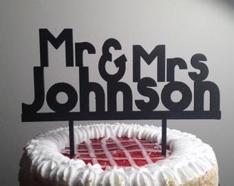 Mr & Mrs Personalized Wedding Cake Topper,  Custom last name Wedding Cake Topper, Wedding Cake Decor