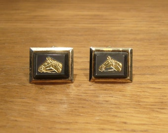 Vintage black and gold tone horse head cufflinks