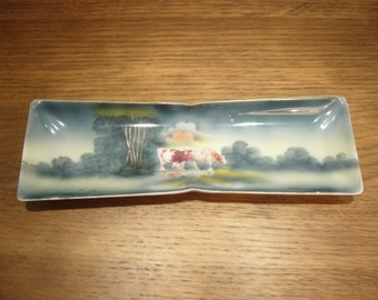 Vintage porcelain pen tray with pastoral scene with cows - tiny chip on rim