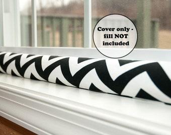 custom length door draft stopper cover, draught excluder sleeve, black & white chevrons, geometric zig zag, window snake, wind block, dodger