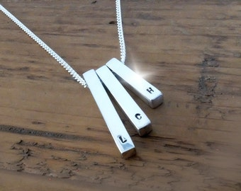 Personalised Silver Three Bar Necklace, Silver Necklace with Initials, Monogram Necklace, 3 Childrens Initials Necklace, Family Necklace