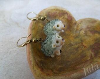 Hedgehog, Earrings hedgehog, Jewelry hedgehog