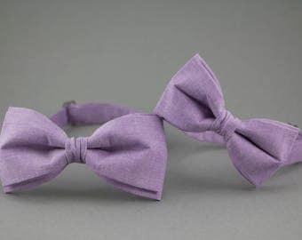 Purple Bow Ties for Father & Son Bow Tie Violet Bow Ties Set for Family Bow Ties Gift for Father Newborn Gift Cotton Bow Tie Two Bow Ties