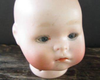 German Bisque Sleepy Eyed Porcelain Doll Head
