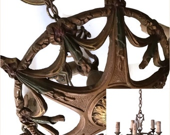 Antique Cast Iron Chandelier Lighting 1930's Hanging Light Fixture Needs Restoration Original Wiring Vintage Lighting