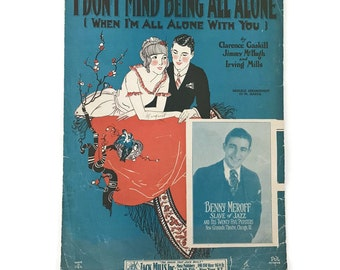 "Vintage Sheet Music ""I Don't Mind Being all Alone"" Valentine Love Songs Ukelele Arrangement Scrapbooking Art Deco Music Decor Music Notation"