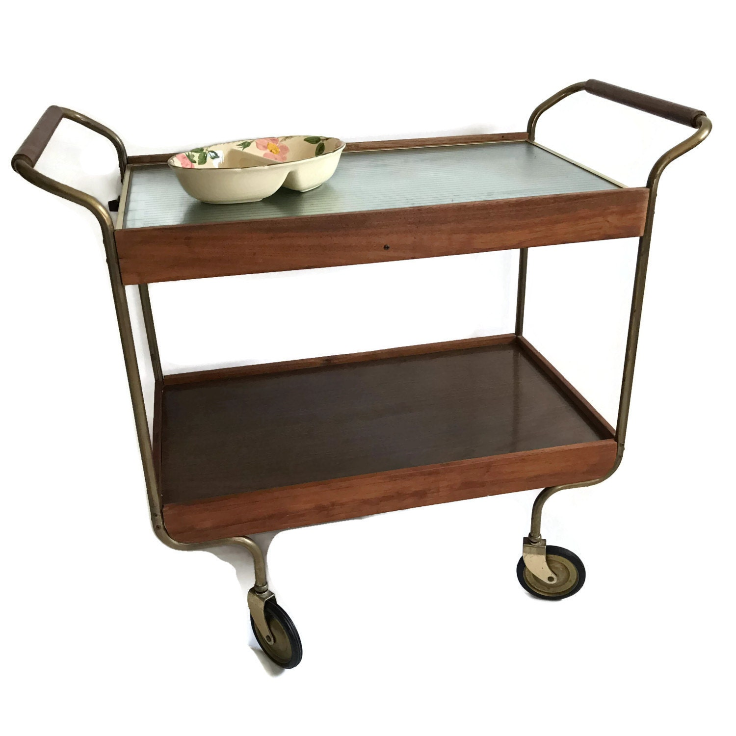 mid century bar cart with warming tray by merrilyverilyvintage. Black Bedroom Furniture Sets. Home Design Ideas