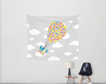 Disney's Pixar's Up! Over Gray Sky and Clouds 2 Wall Tapestry, Disney Tapestry, Pixar Wall Tapestry, Adventure in Out There