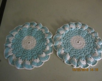 Gorgeous Hand Crocheted Potholders Aqua Turquoise Hand Made