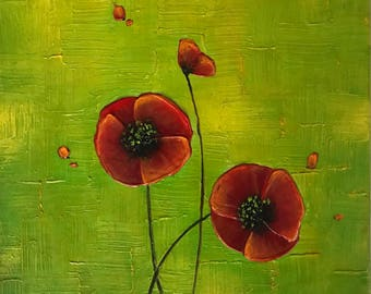 Red poppies Painting, Impasto Painting, Textured aAt, Modern Wall Art