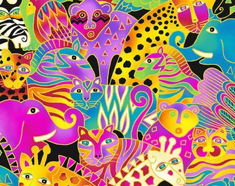 Mythical Jungle Large Animal Metallic Y2132-56M by Laurel Burch Fabric Cotton by the yard