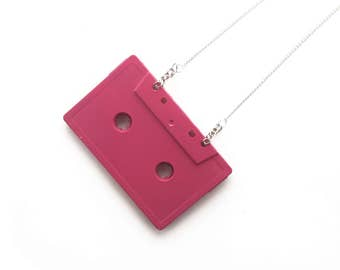 Cassette Tape Necklace | Hot Pink | Retro Statement Jewellery