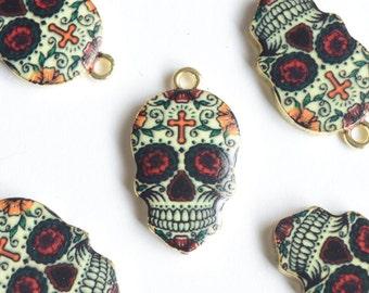 Skull Pendant, Sugar Skull Charm - 4 pieces (147G)