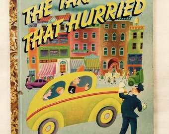 The Taxi that Hurried, First 1946 Edition, Tibor Gergely Color Illustrations, African American Porters, Post War NYC, 1940s New York, Fab