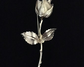 Vintage 1980's Giovanni Long-stem Rose Brooch (WhtD3)