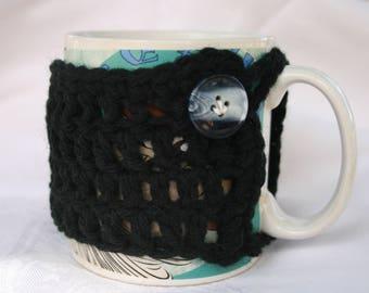 Mug Cozy Black Crocheted Black & White Button