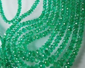 5 Strands, 20-16 inches, COLOMBIAN EMERALD Faceted Rondelles, Size 2-7mm