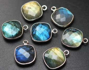 925 Sterling Silver,Labradorite Faceted Cushion Shape Connector,4 Piece 16mm