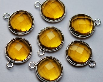 925 Sterling Silver,Yellow Quartz Faceted Coins Shape Connector,5 Piece 16mm
