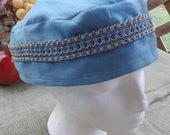 Blue Heaven 100% Linen Migba'ah Turban Cap with Matching Ribbon Trim